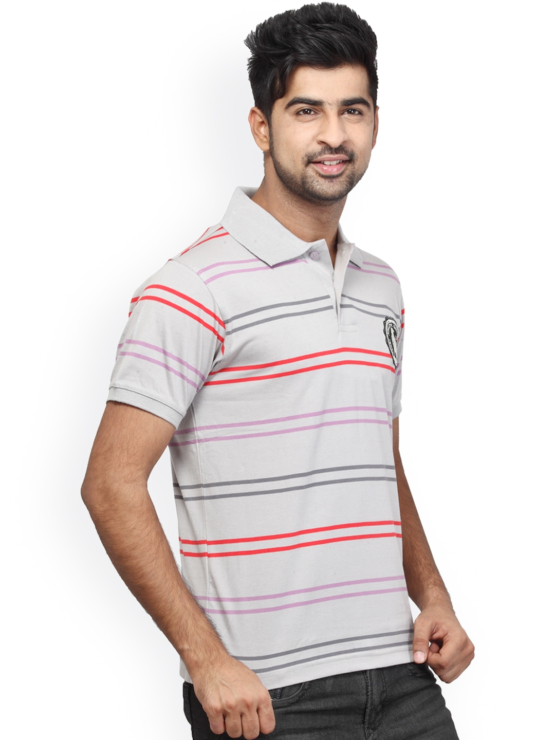 Myntra orange valley white striped slim fit polo t shirt for White fitted polo shirts