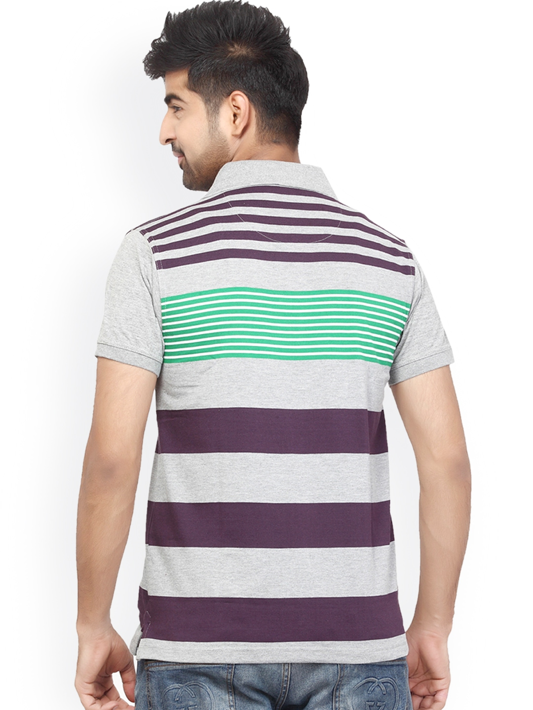 Myntra orange valley grey purple striped slim fit polo t for Purple and black striped t shirt