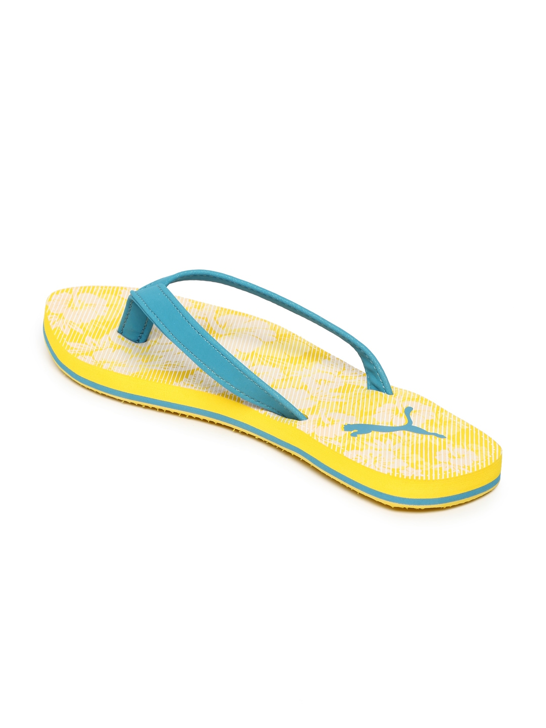 myntra puma women yellow blue printed flip flops 890072 buy myntra puma flip flops at best. Black Bedroom Furniture Sets. Home Design Ideas