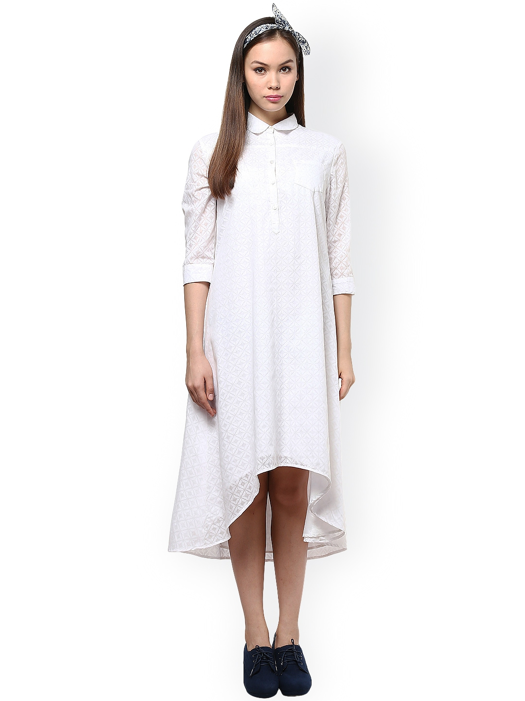 Myntra femella white self printed shirt dress 890353 buy for Buy white dress shirt