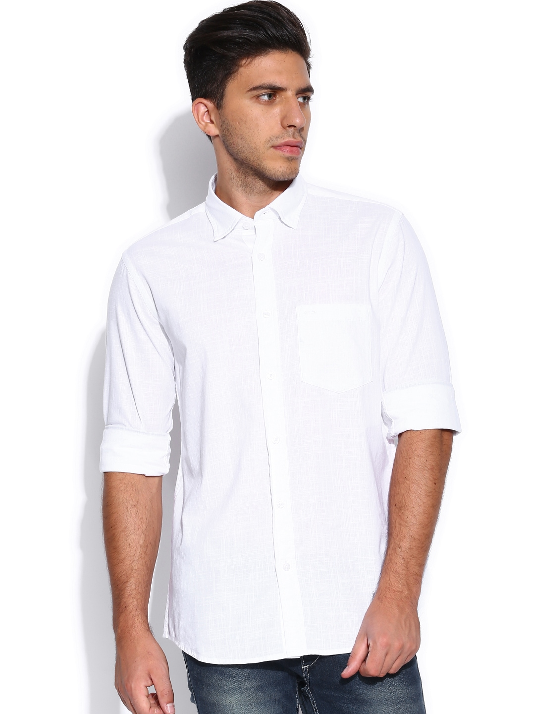 Myntra colorplus white tailored fit smart casual shirt for Tailor dress shirt cost
