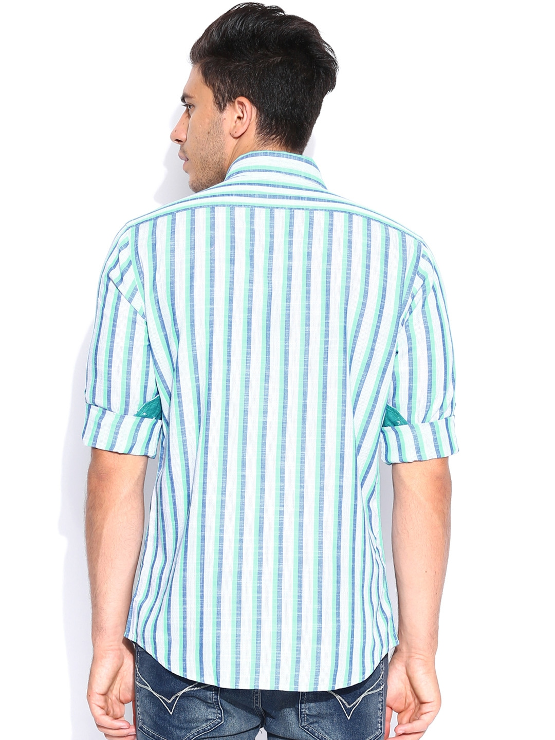 Myntra Colorplus Blue White Striped Tailored Fit Smart