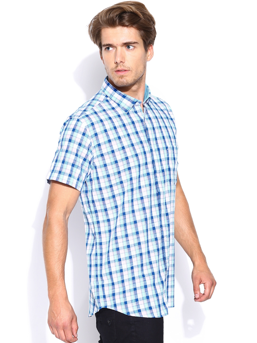 Myntra Colorplus White Blue Checked Tailored Fit Smart