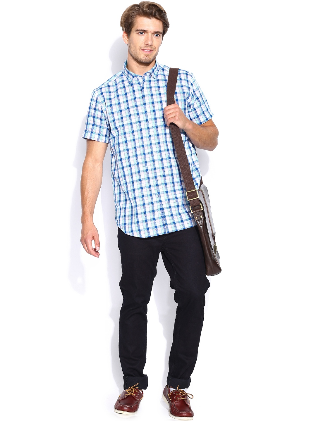 Myntra colorplus white blue checked tailored fit smart for Tailor dress shirt cost