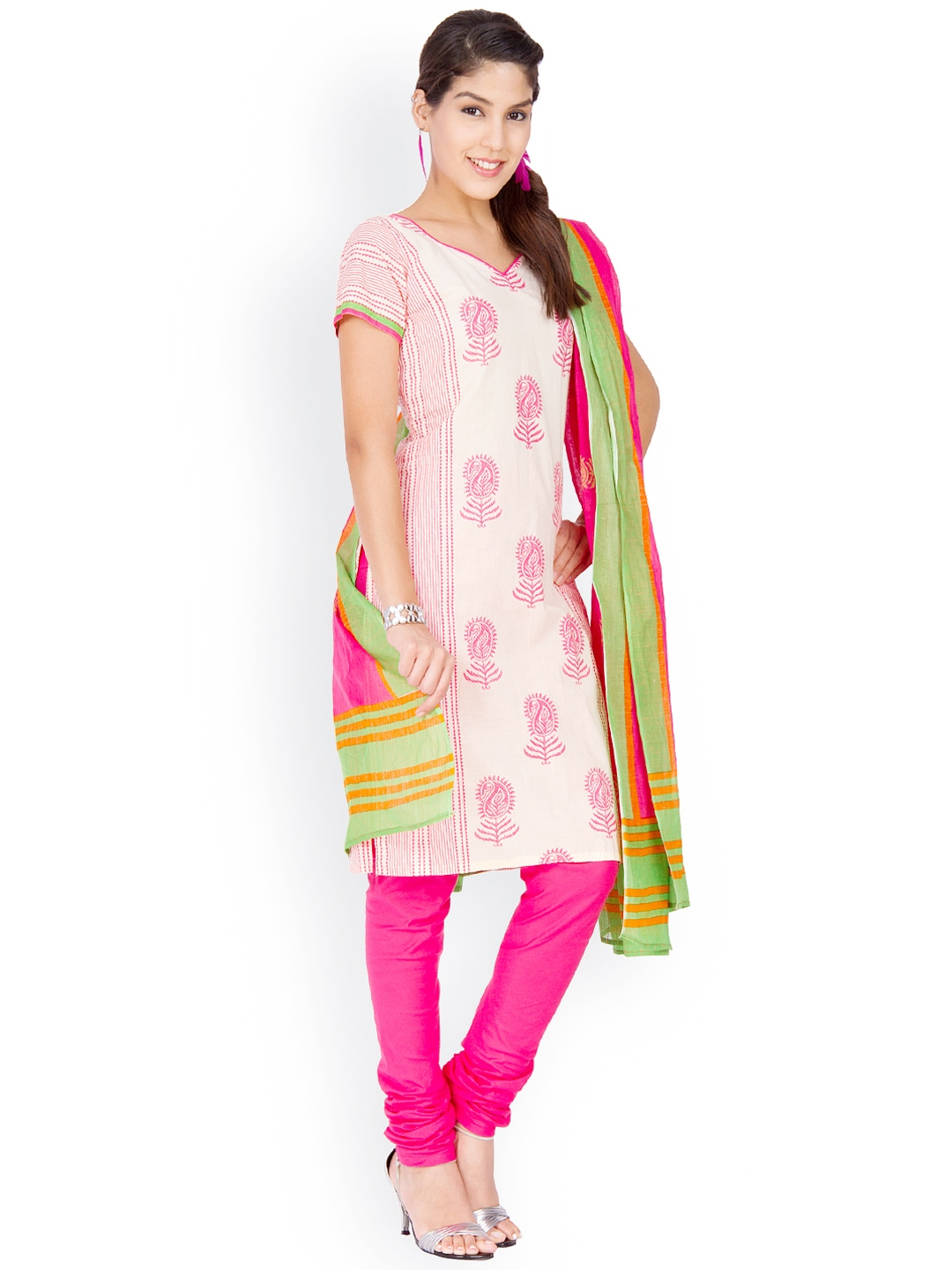 Printed cotton dress material online shopping