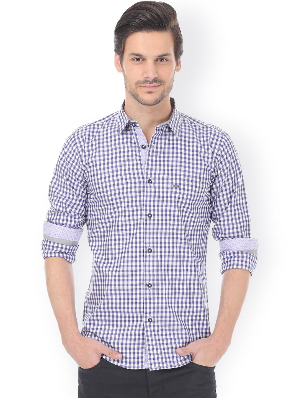 Myntra basics purple white checked slim fit casual shirt for Purple and white checked shirt