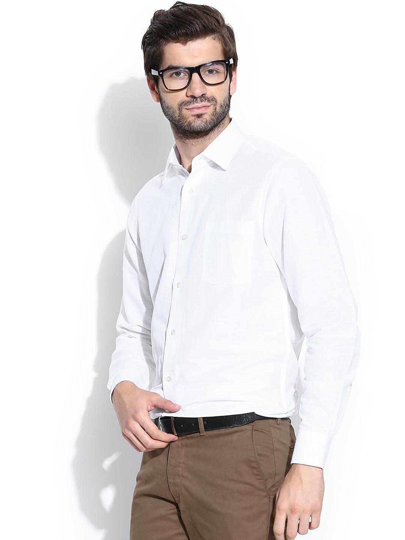 Myntra blackberrys white linen slim fit semiformal shirt for Slim fit white linen shirt