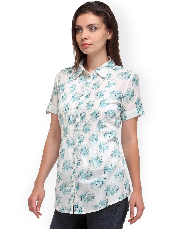 Myntra kiosha women white floral print shirt 908842 buy for White floral shirt womens