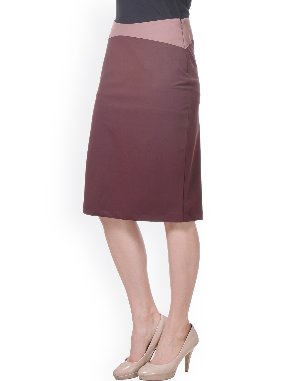myntra kaaryah burgundy pencil skirt 909947 buy myntra