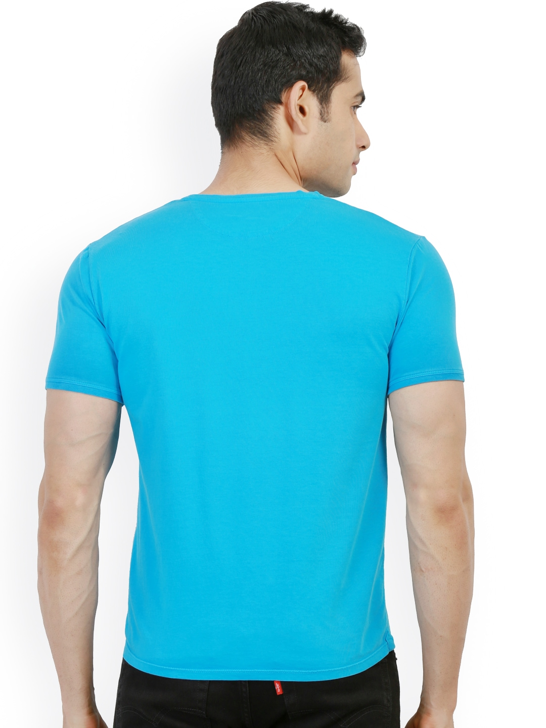 Myntra design classics turquoise blue printed slim fit t for Myntra t shirt design