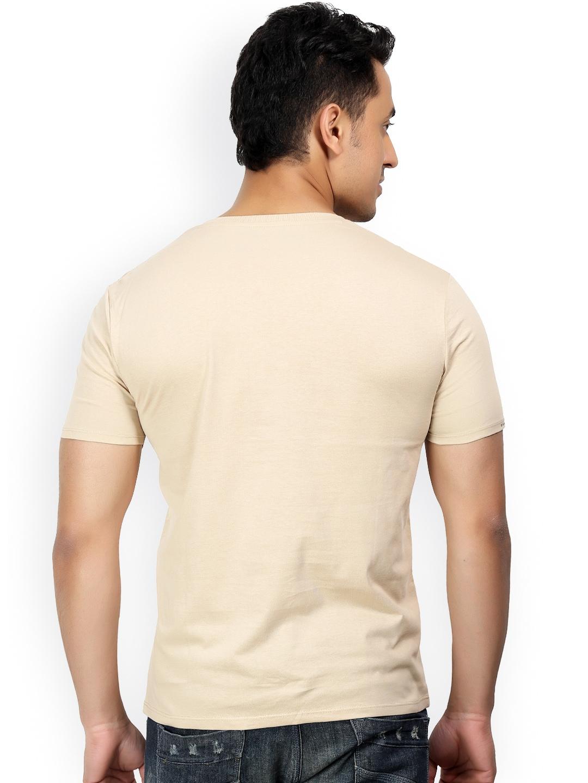 Myntra design classics beige printed slim fit t shirt for Myntra t shirt design