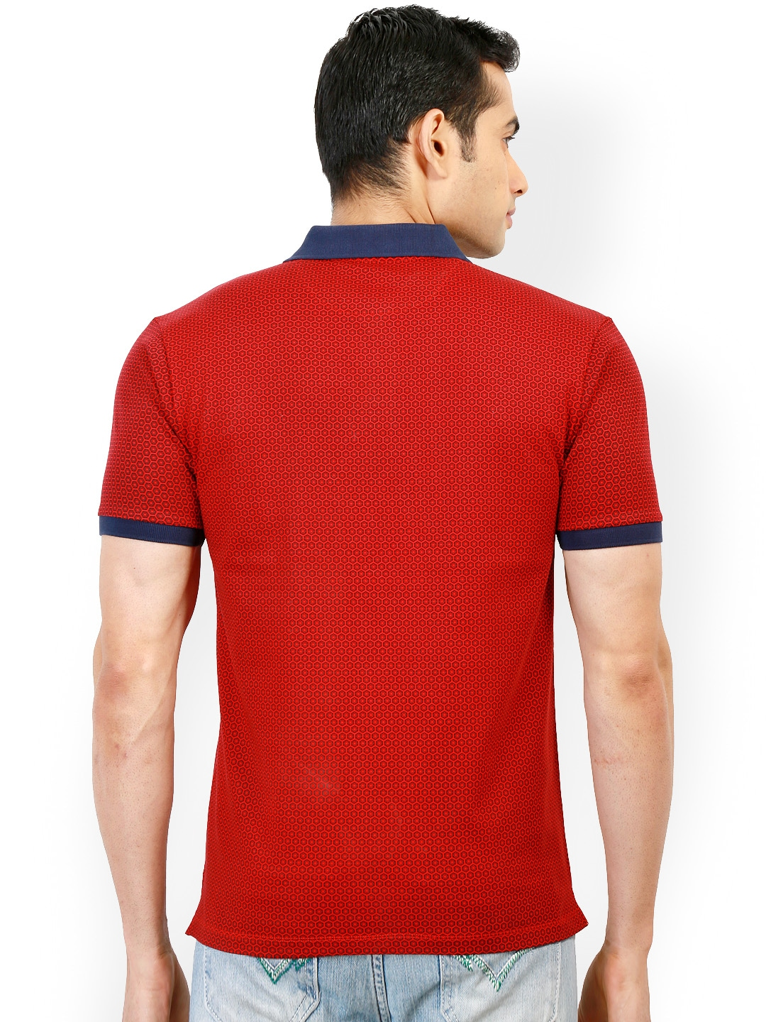 Myntra design classics red printed slim fit polo t shirt for Myntra t shirt design