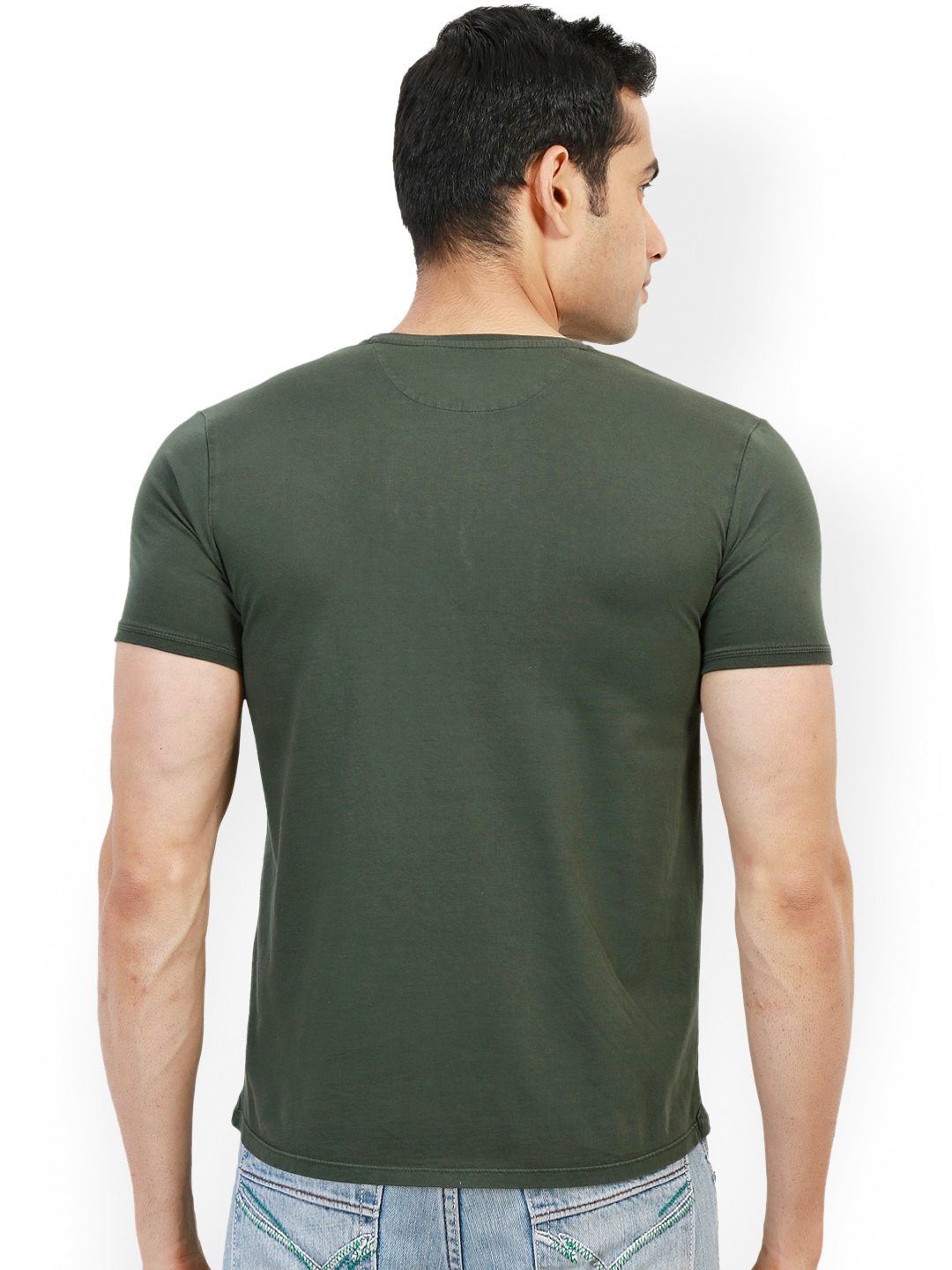 Myntra design classics olive green printed slim fit t for Myntra t shirt design