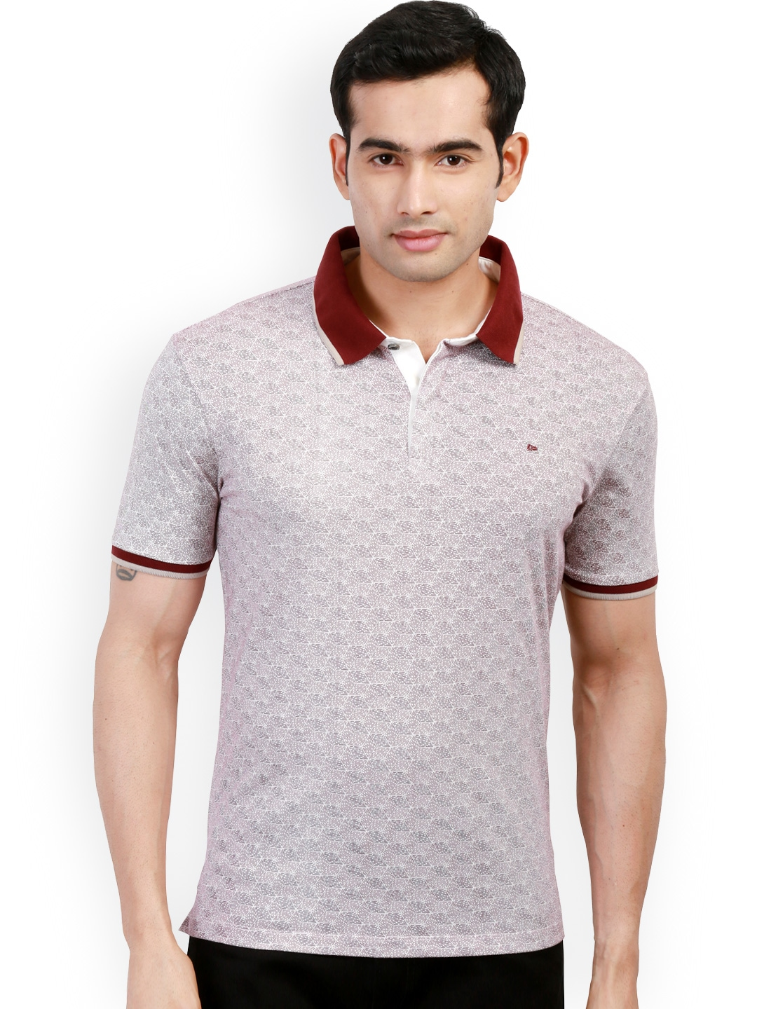 Myntra design classics maroon printed slim fit polo t for Myntra t shirt design