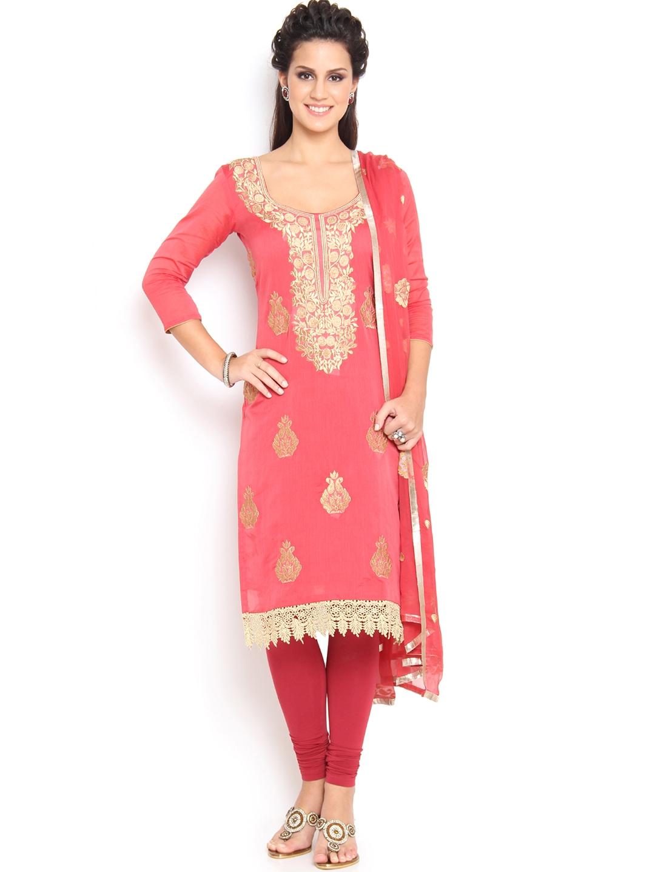 Myntra soch pink embroidered chanderi unstitched dress