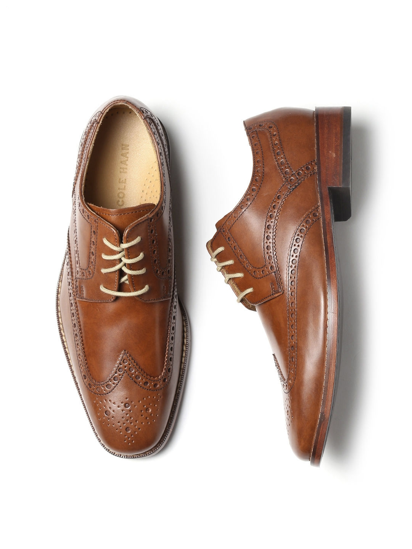 myntra cole haan men tan brown leather giraldo wngtp ii brogues 915530 buy myntra cole haan. Black Bedroom Furniture Sets. Home Design Ideas
