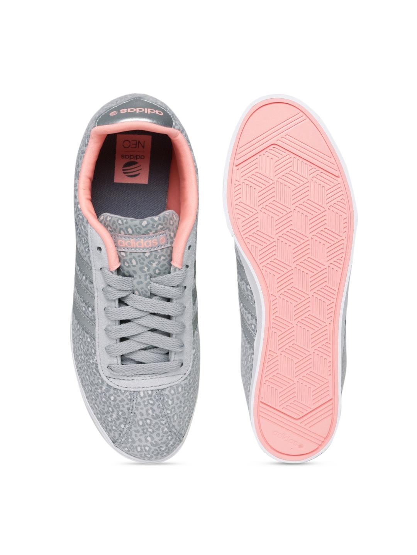 4636cb8423aa28 Buy Adidas NEO Women Grey Animal Print Leather COURTSET Sneakers .