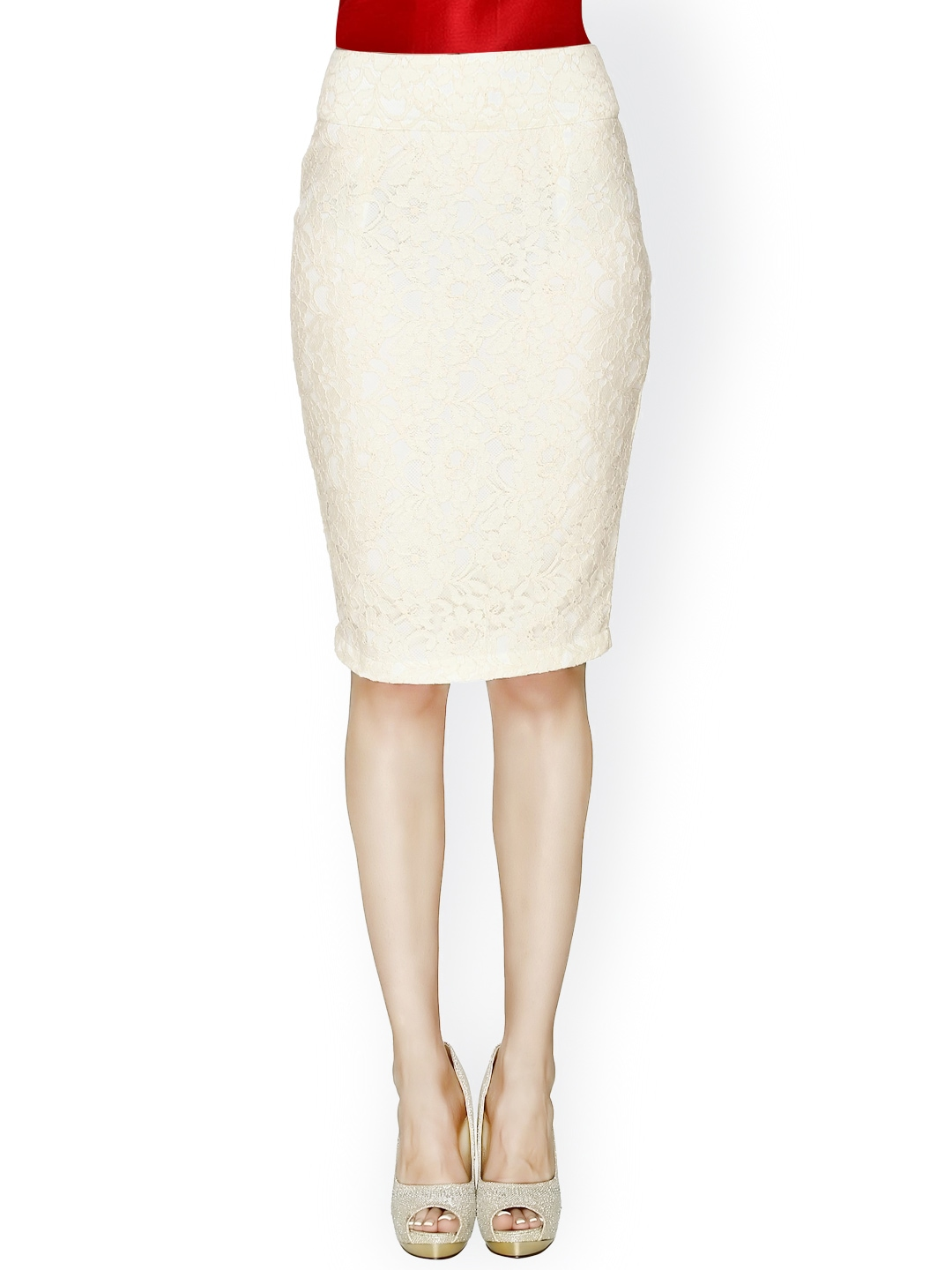 myntra 20dresses white lace pencil skirt 786865 buy