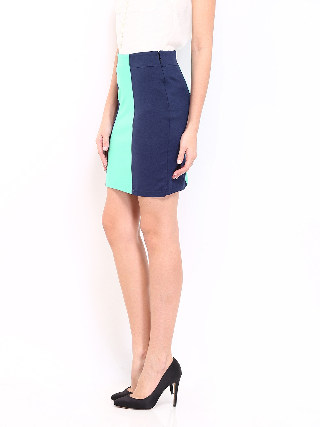 myntra and by dongre navy mint green pencil skirt