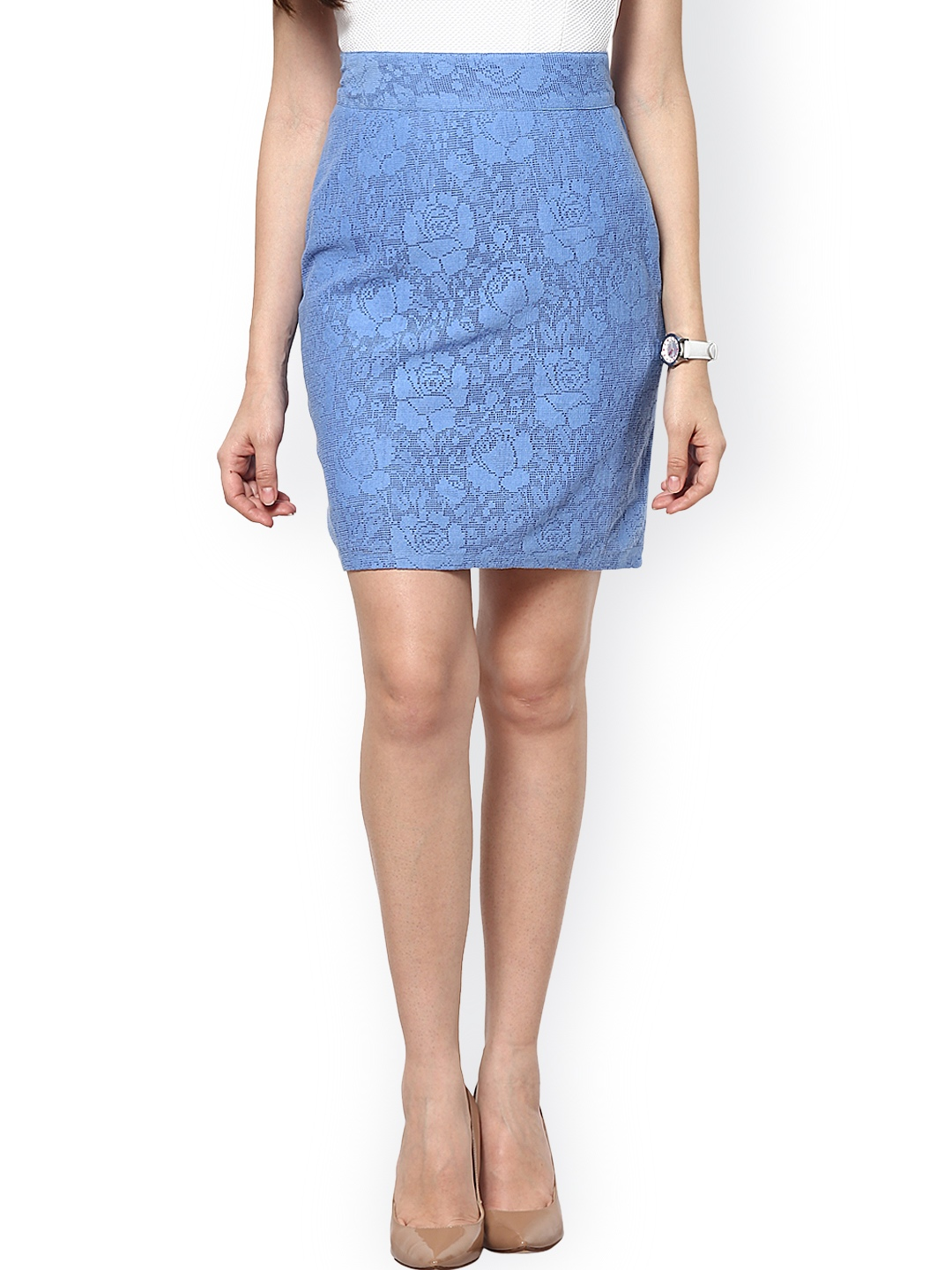 This sultry pencil skirt is shaped by a lovely eyelash lace overlay (atop a matching liner) and is decorated with stripes of light blue and white from the top of the high waist, down to the figure-flaunting, slightly scalloped, knee-length hem/5(2).
