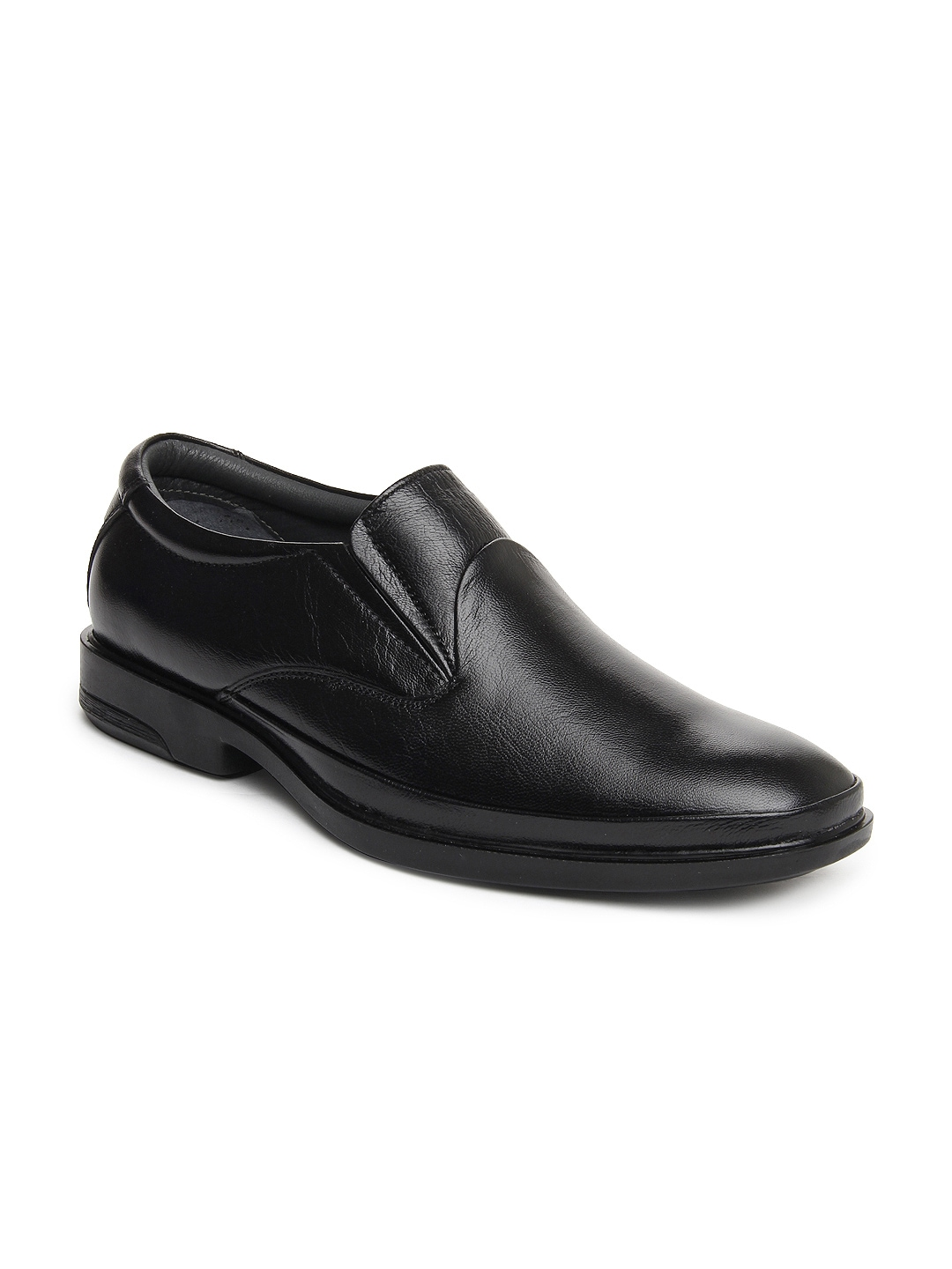 myntra allen cooper black leather semi formal shoes
