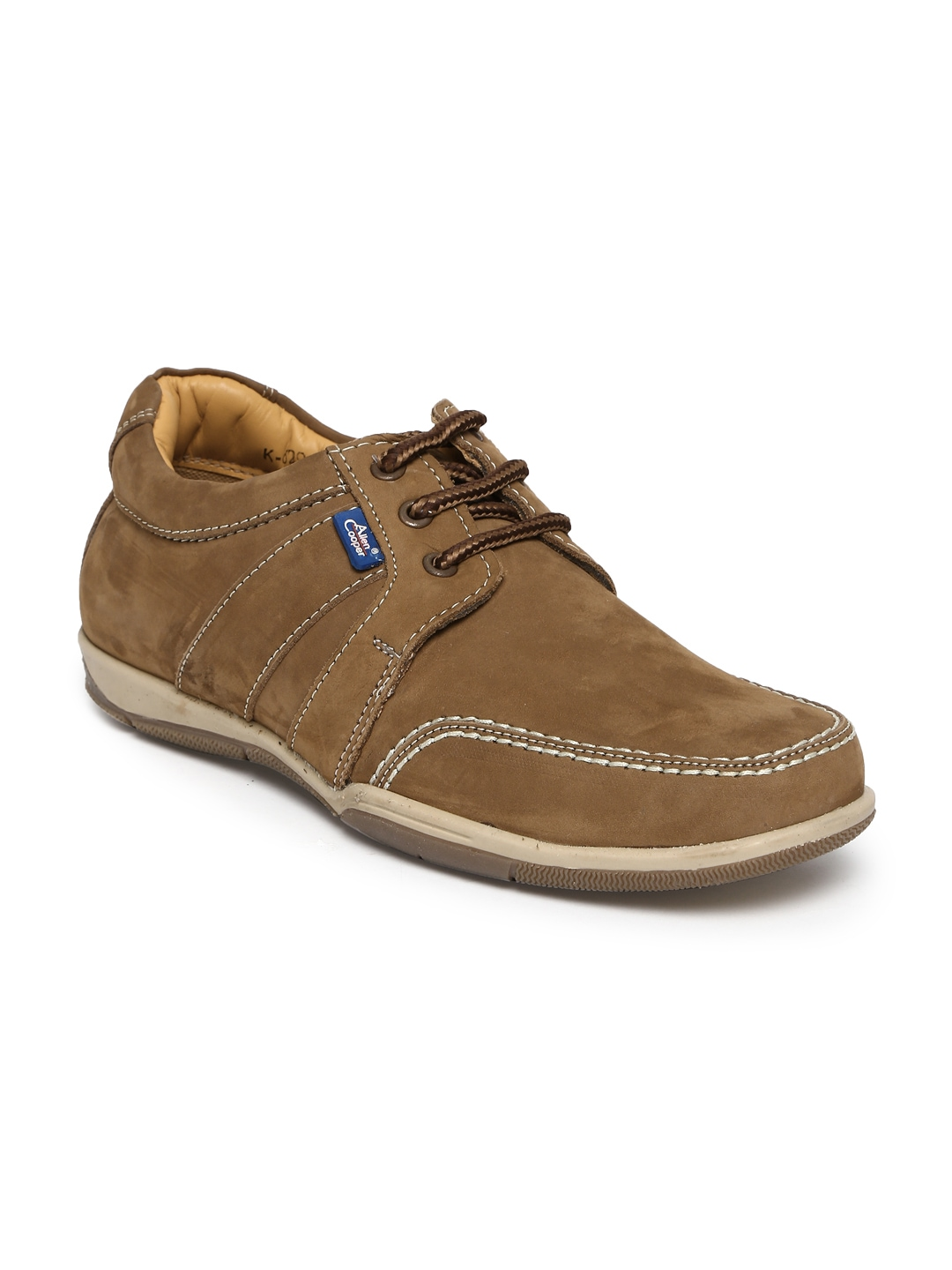 myntra allen cooper brown leather casual shoes 390002