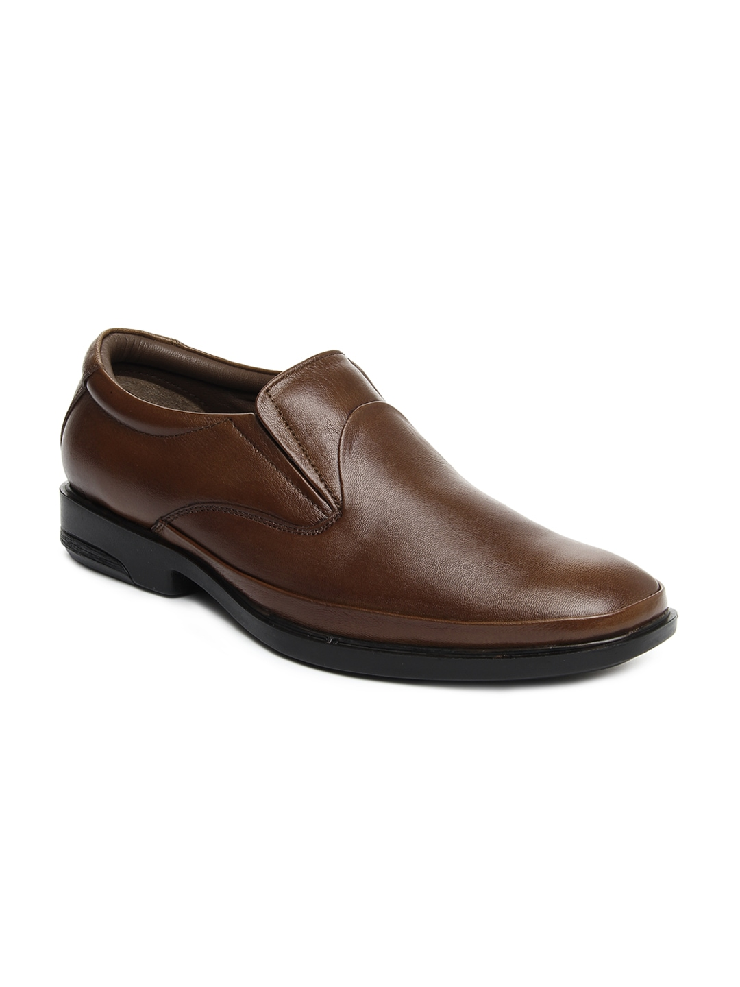 myntra allen cooper brown leather semi formal shoes