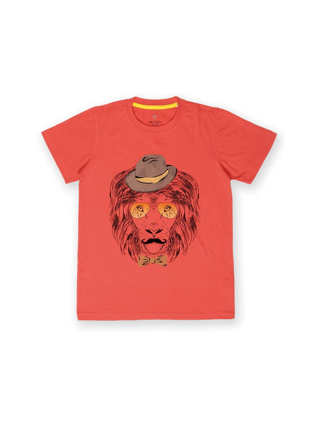 Myntra allen solly junior boys coral red printed t shirt for Boys printed t shirts