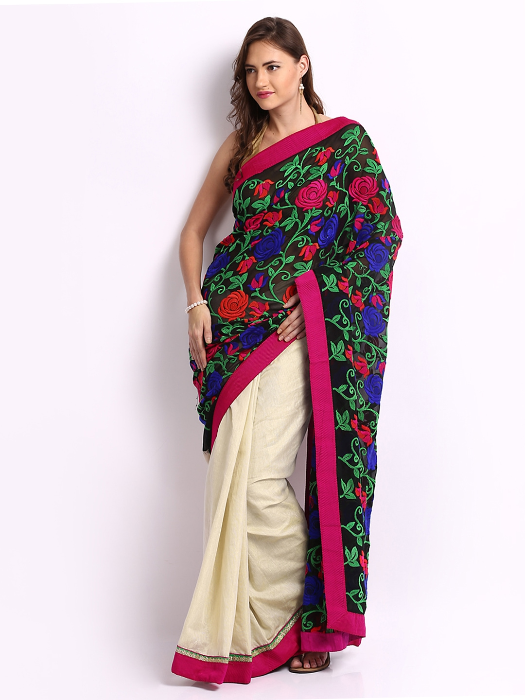 Ambica Black amp; Cream Coloured Embroidered Georgette Fashion Saree available at Myntra for Rs.379020