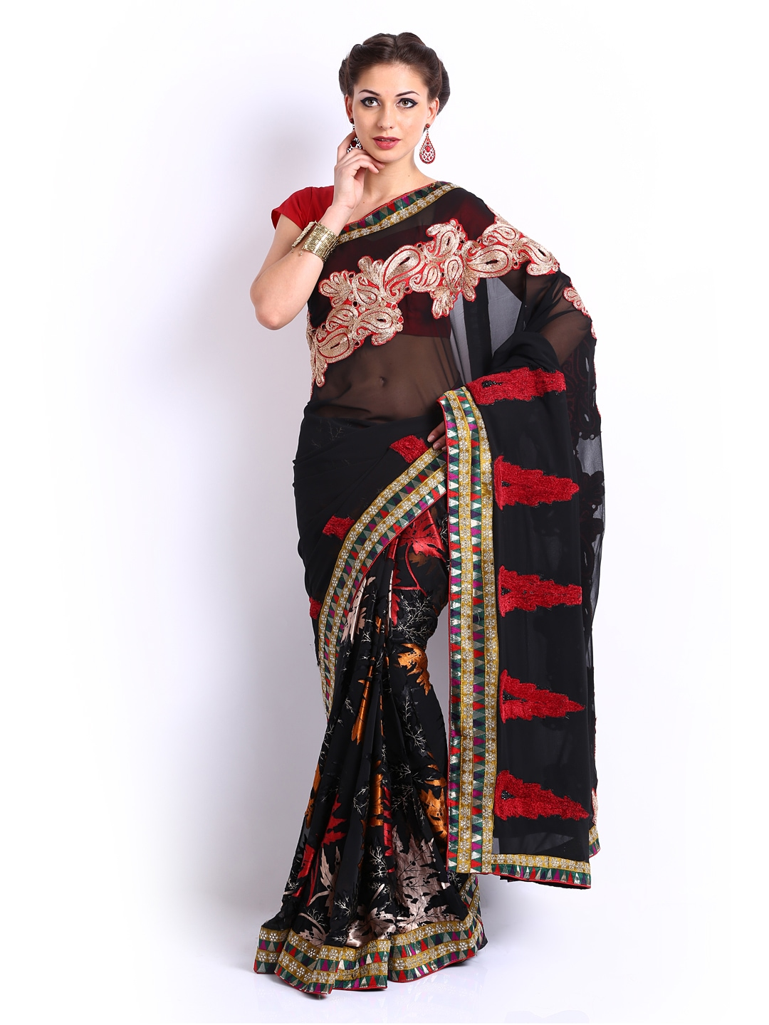 Ambica Black Embroidered Georgette Fashion Saree available at Myntra for Rs.259020