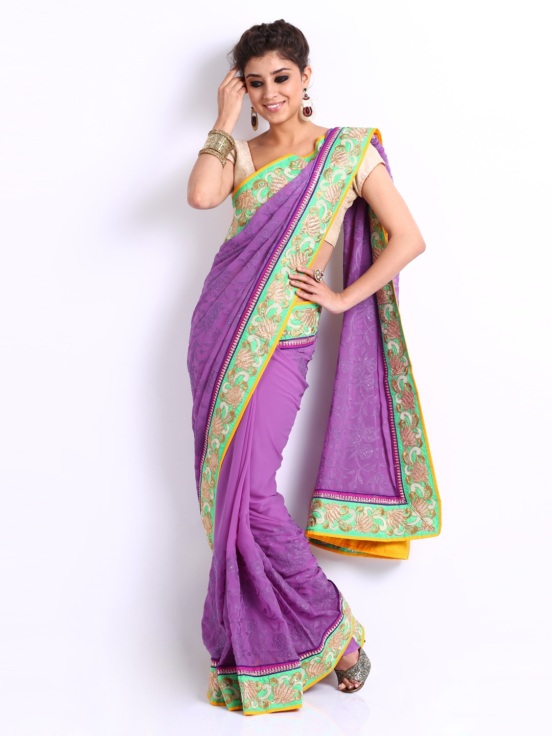 Ambica Purple Embroidered Georgette Fashion Saree available at Myntra for Rs.910020