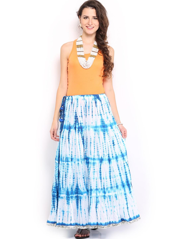 myntra anouk blue white maxi skirt 544150 buy myntra