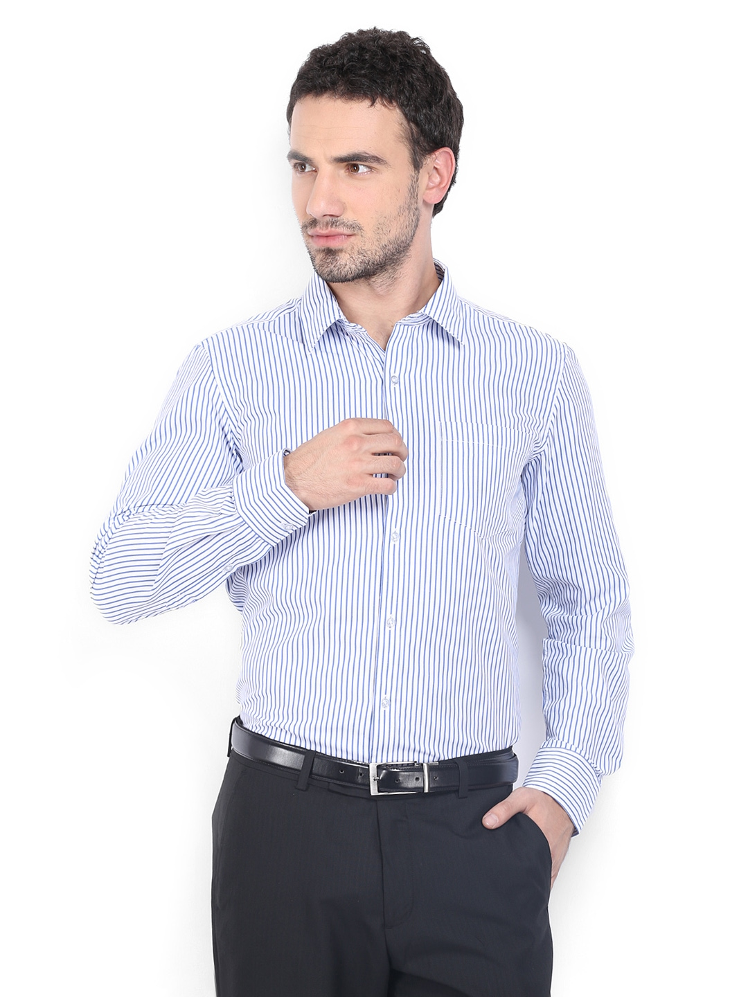 Myntra auburn hill men white blue striped slim fit for Boys white formal shirt