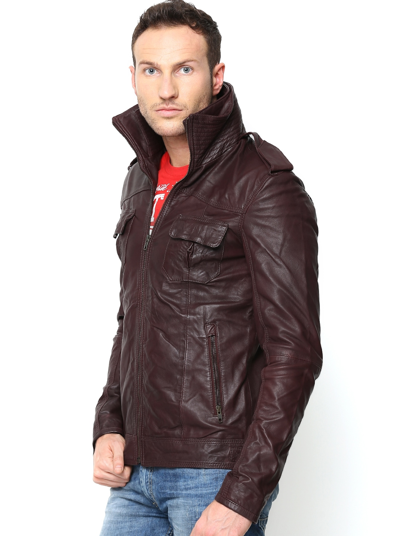 Myntra BARESKIN Men Burgundy Leather Jacket 652835 | Buy Myntra