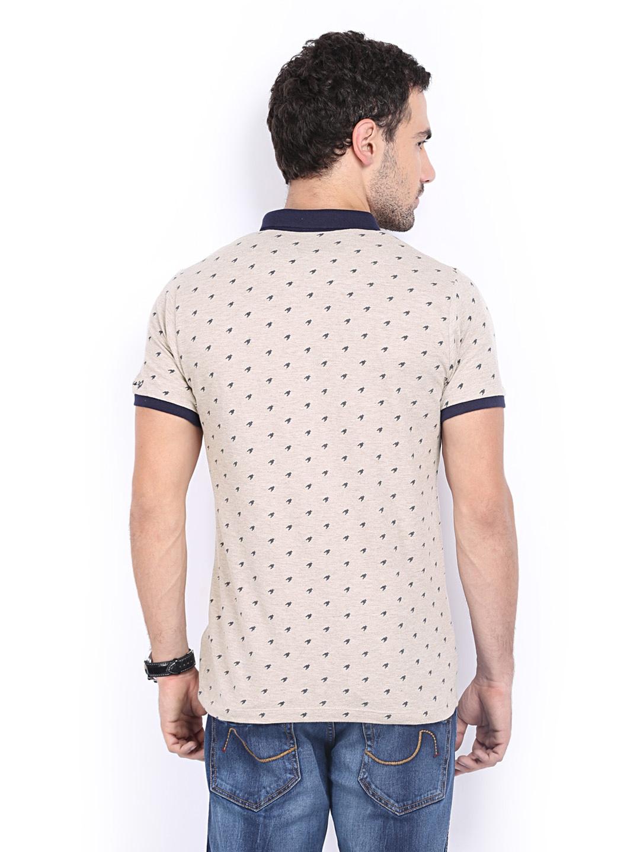 Myntra basics men light brown printed pique polo t shirt for Light brown polo shirt