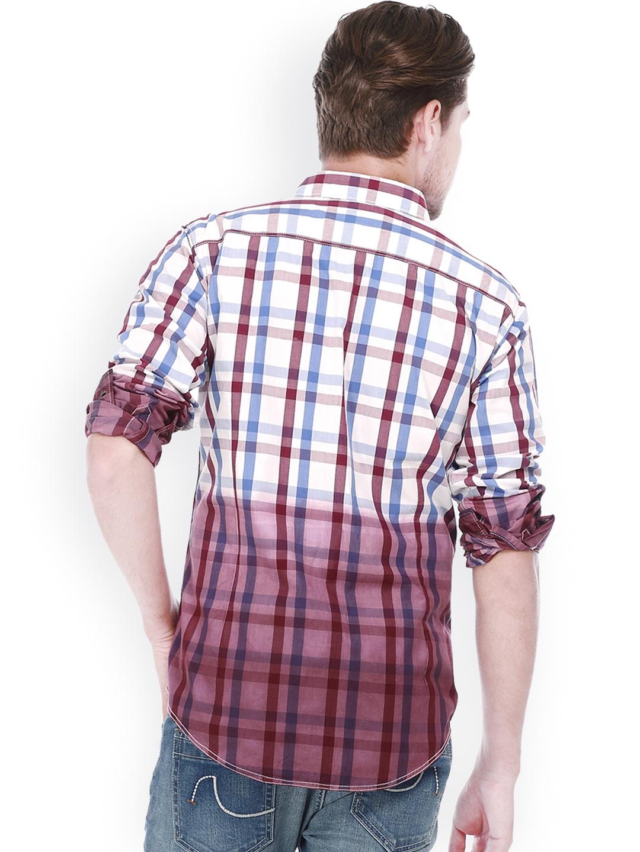Myntra Basics Men Purple White Checked Slim Fit Casual