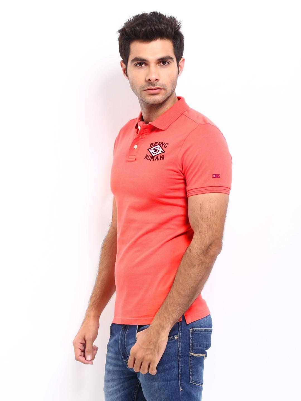 Myntra being human clothing men coral orange polo t shirt for Orange polo shirt mens