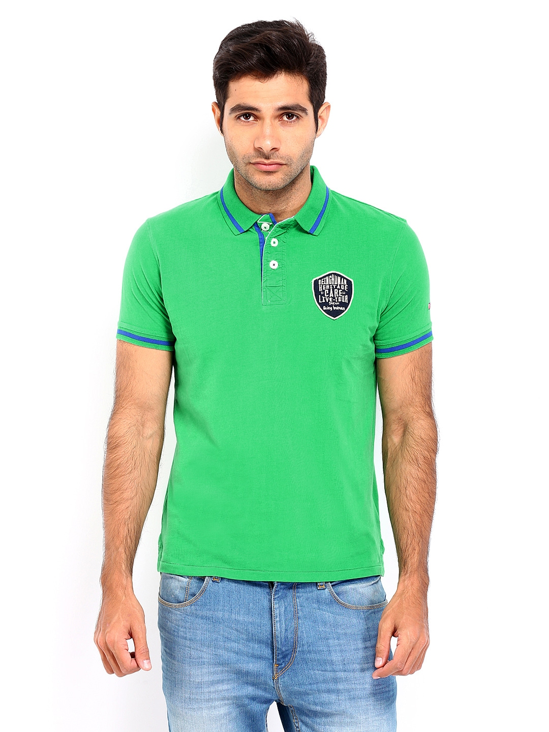 Myntra being human clothing men green polo t shirt 417177 for Buy being human t shirts online