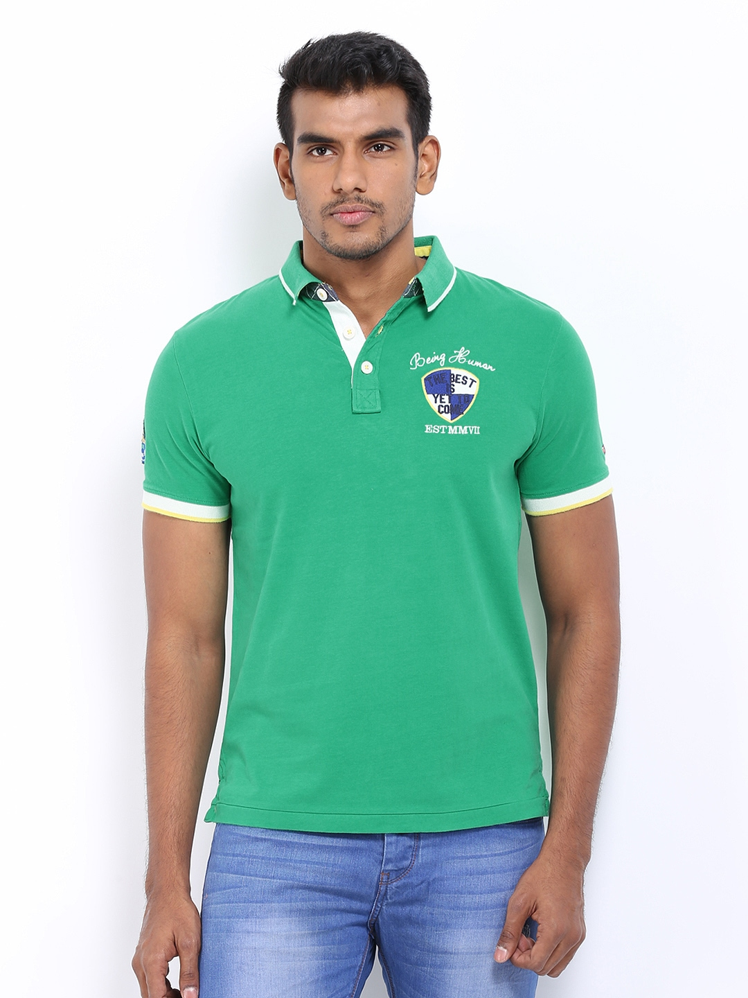 Myntra being human clothing men green polo t shirt 290423 for Buy being human t shirts online