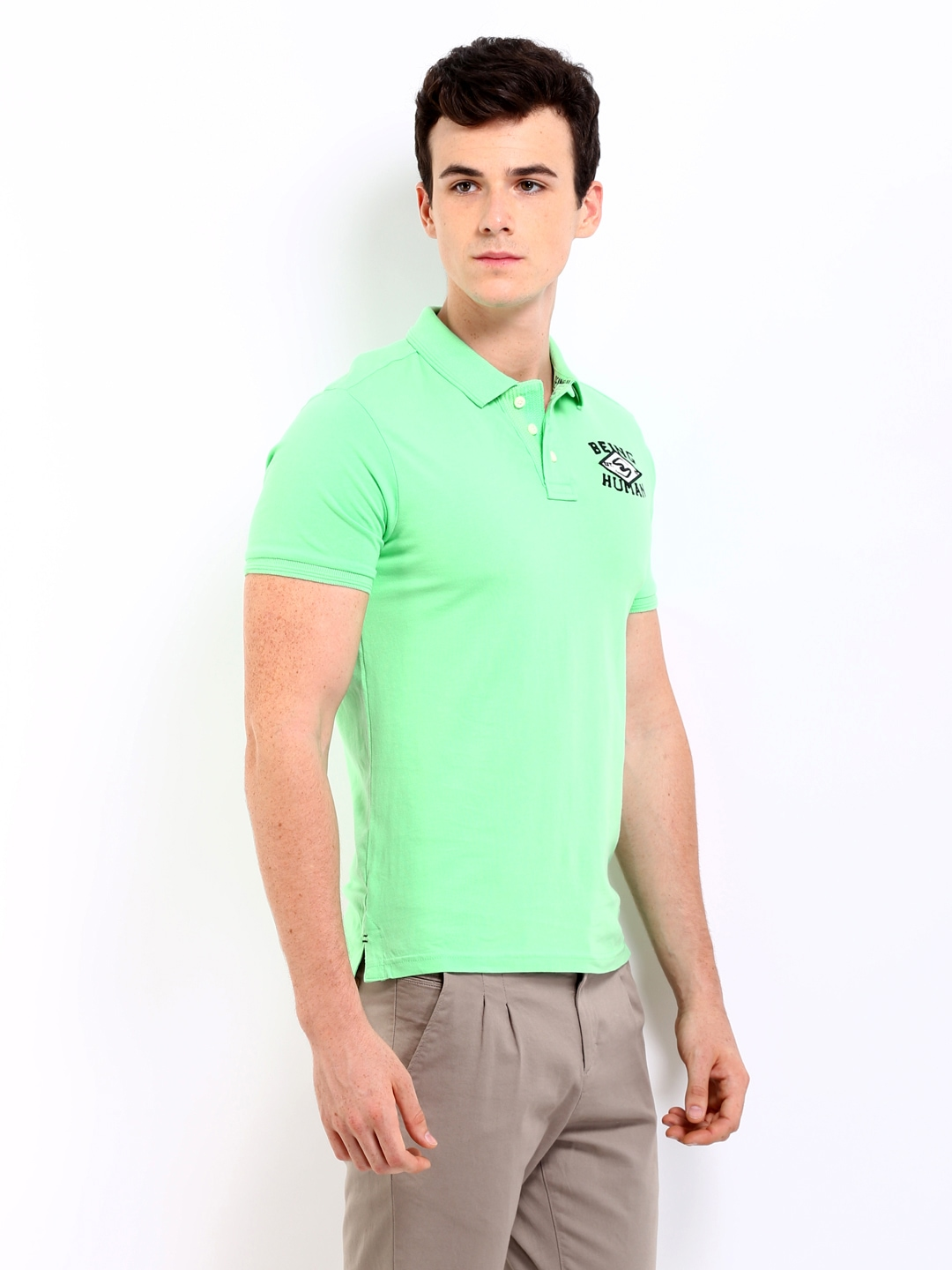 Myntra being human clothing men mint green polo t shirt for Mint color polo shirt