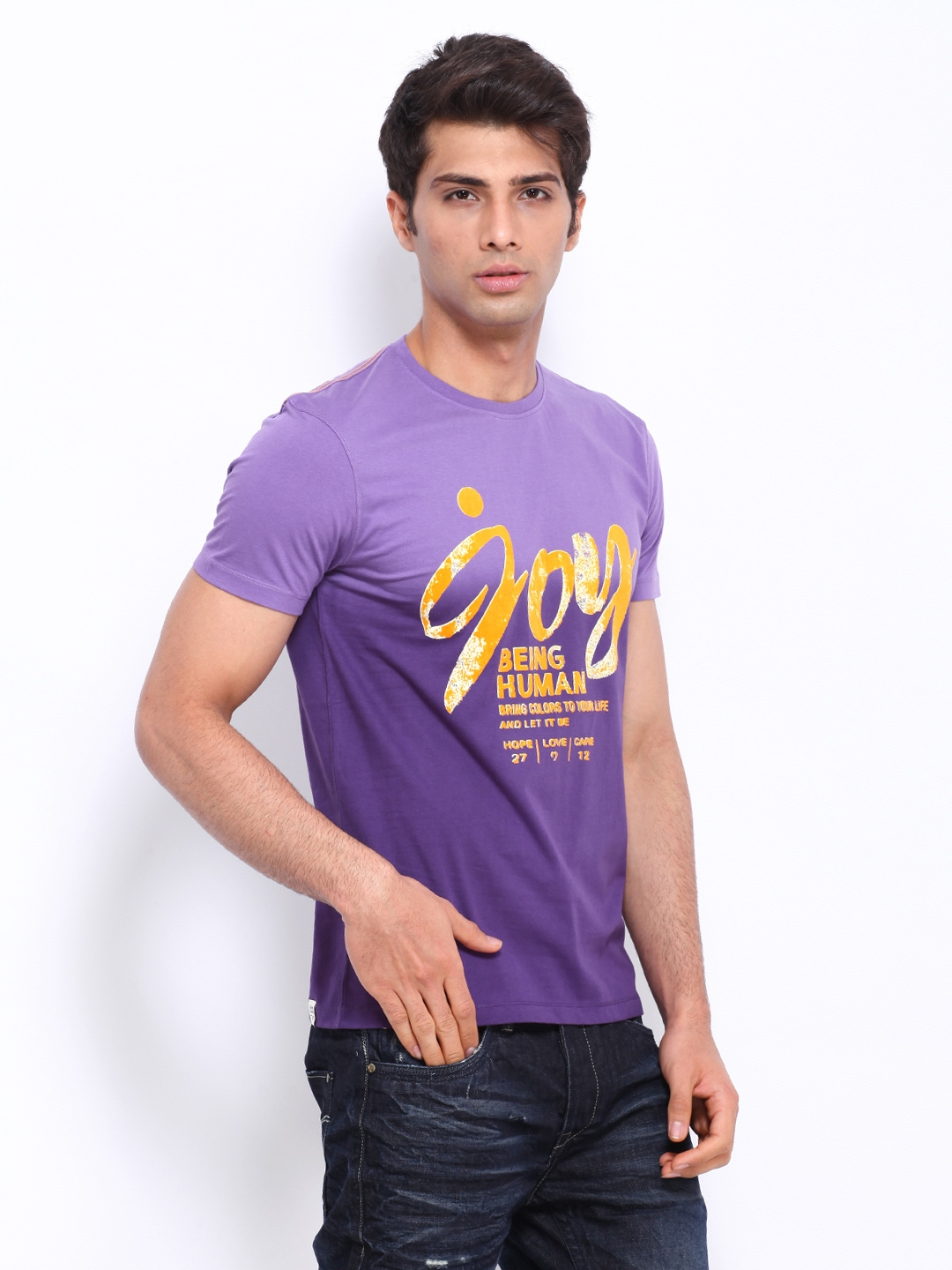 Myntra being human clothing men purple printed t shirt for Buy being human t shirts online