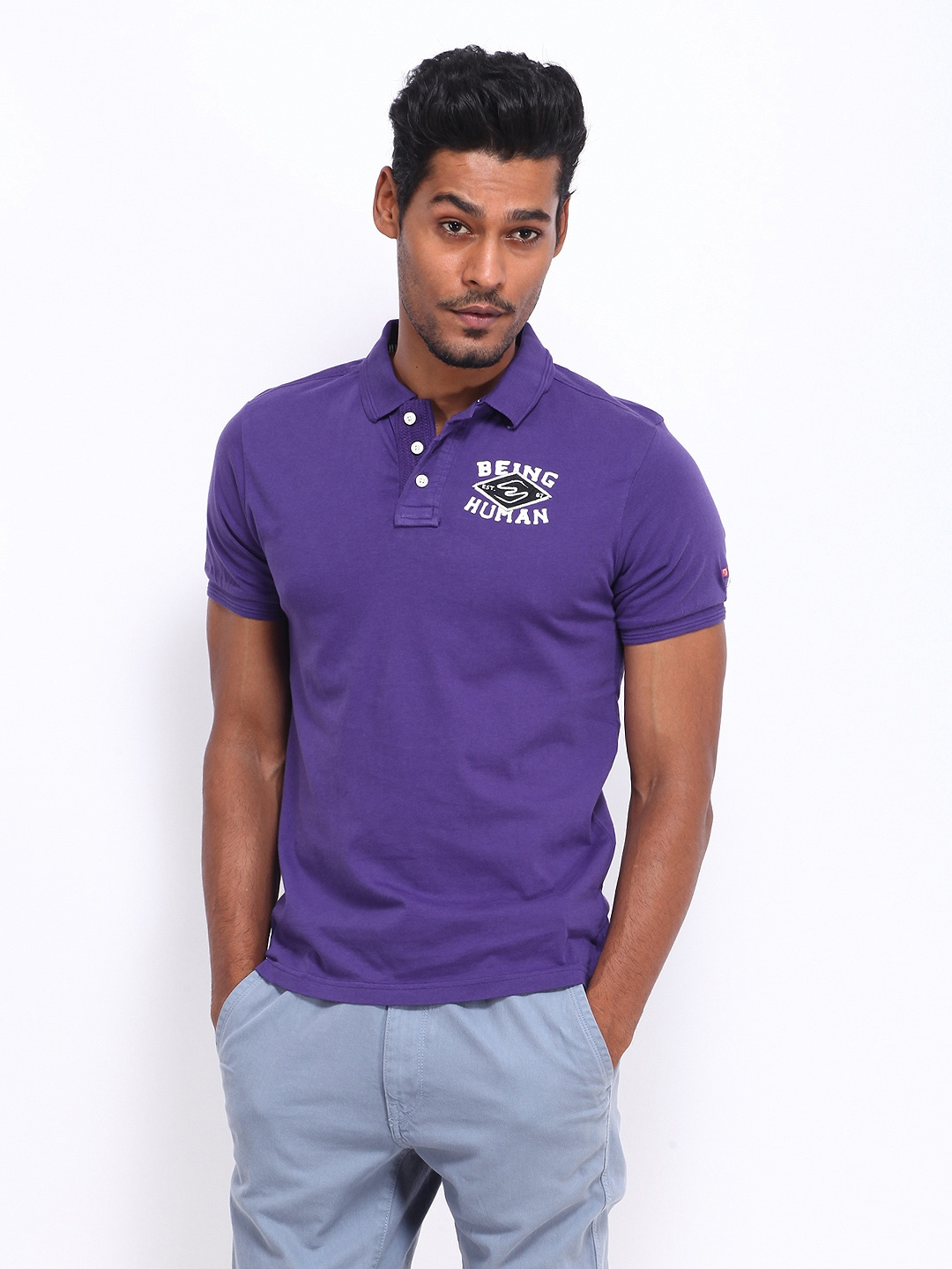 Myntra being human clothing men purple polo t shirt 308457 for Buy being human t shirts online