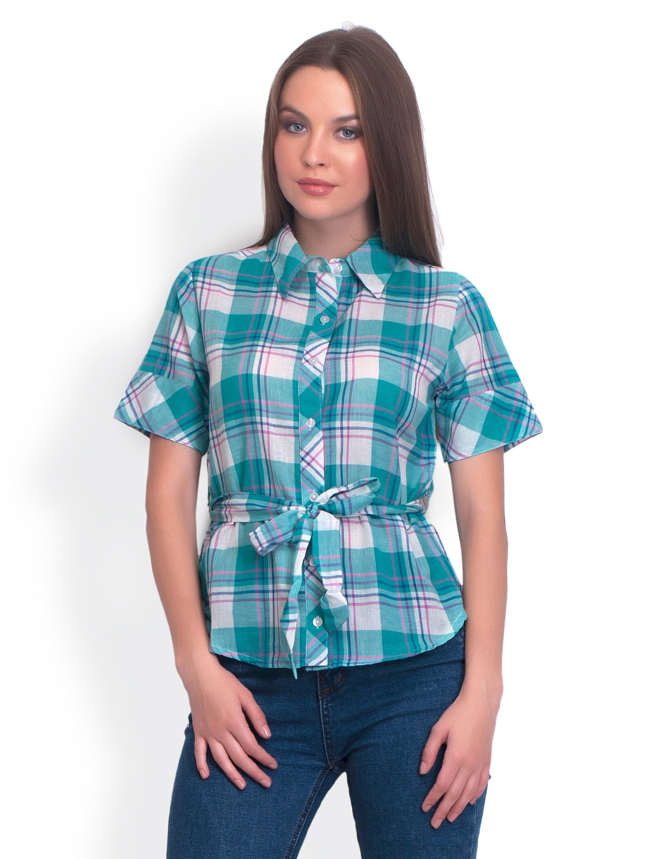 Myntra Belle Fille Women Green Checked Shirt 294307 Buy
