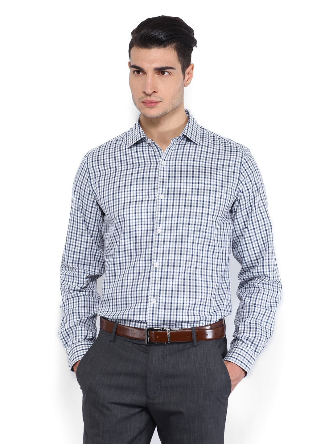 Myntra black coffee men white navy checked slim fit for Boys white formal shirt
