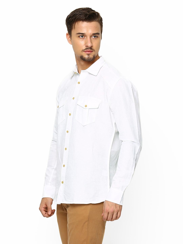 Myntra blackberrys men white linen blend slim fit casual for Slim fit white linen shirt
