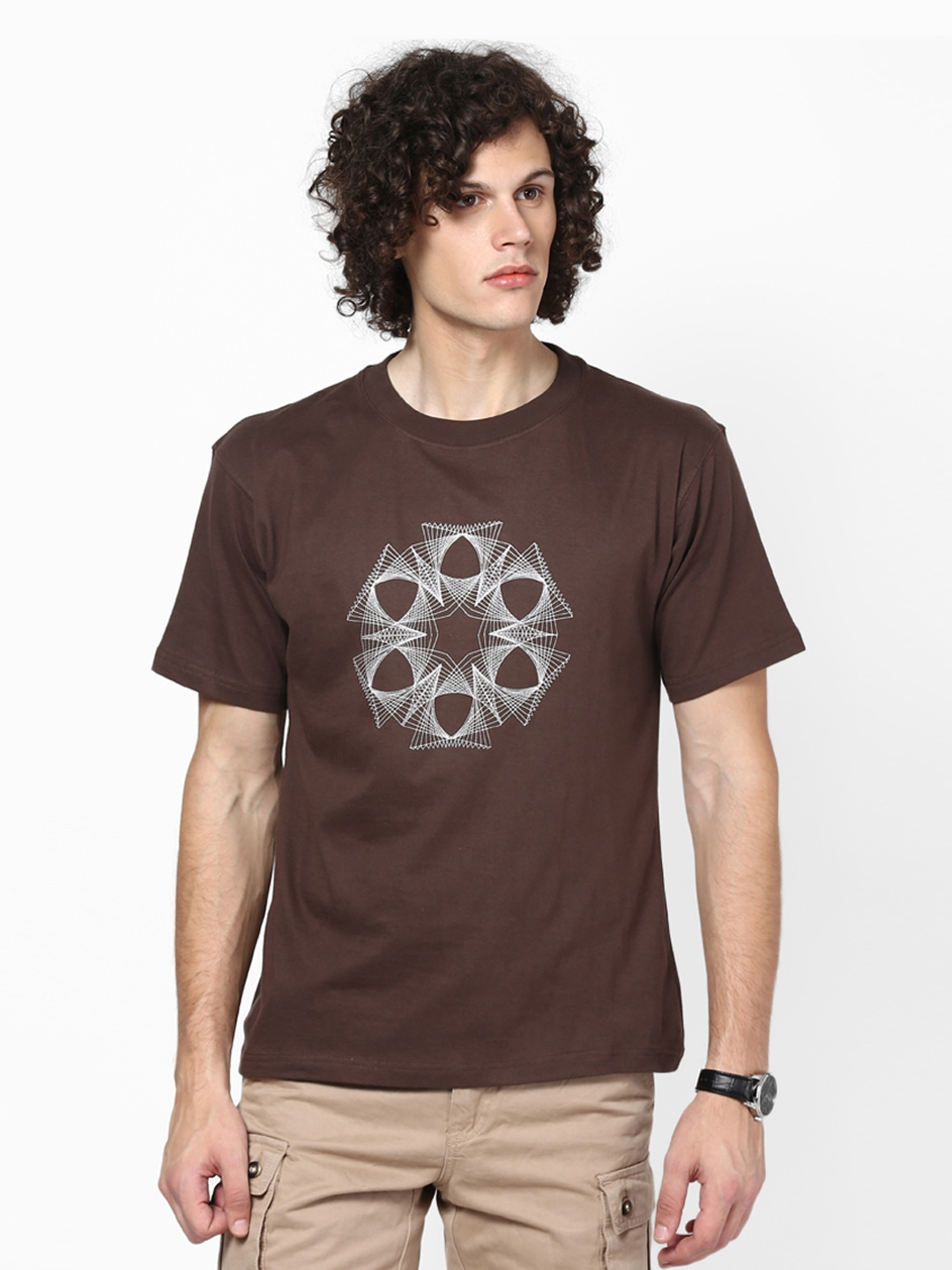 Myntra blotch men chocolate brown printed t shirt 422157 for Mens chocolate brown shirt