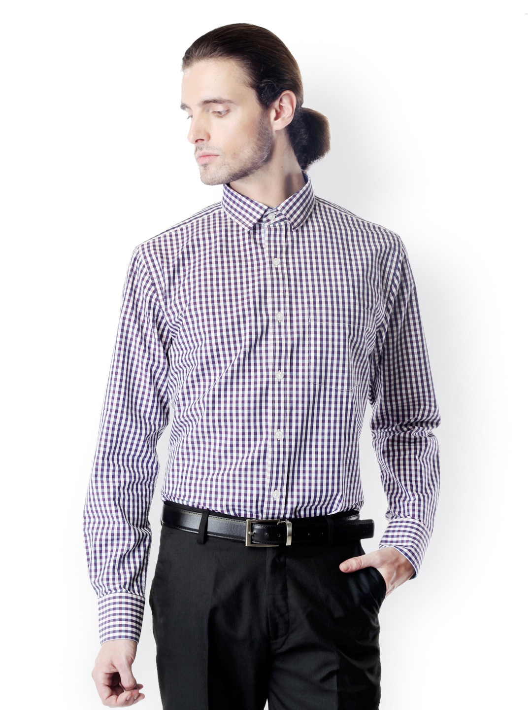 Myntra bombay high men purple white checked slim fit for Purple and white checked shirt