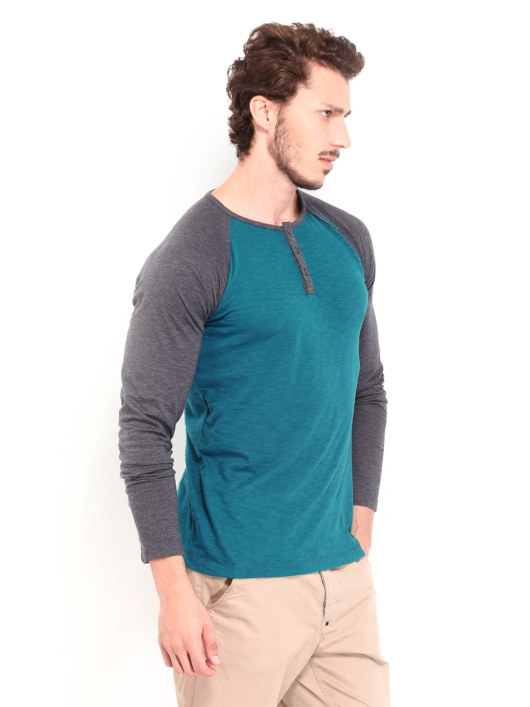 Myntra breakbounce men teal blue charcoal grey slim fit for Boys teal t shirt