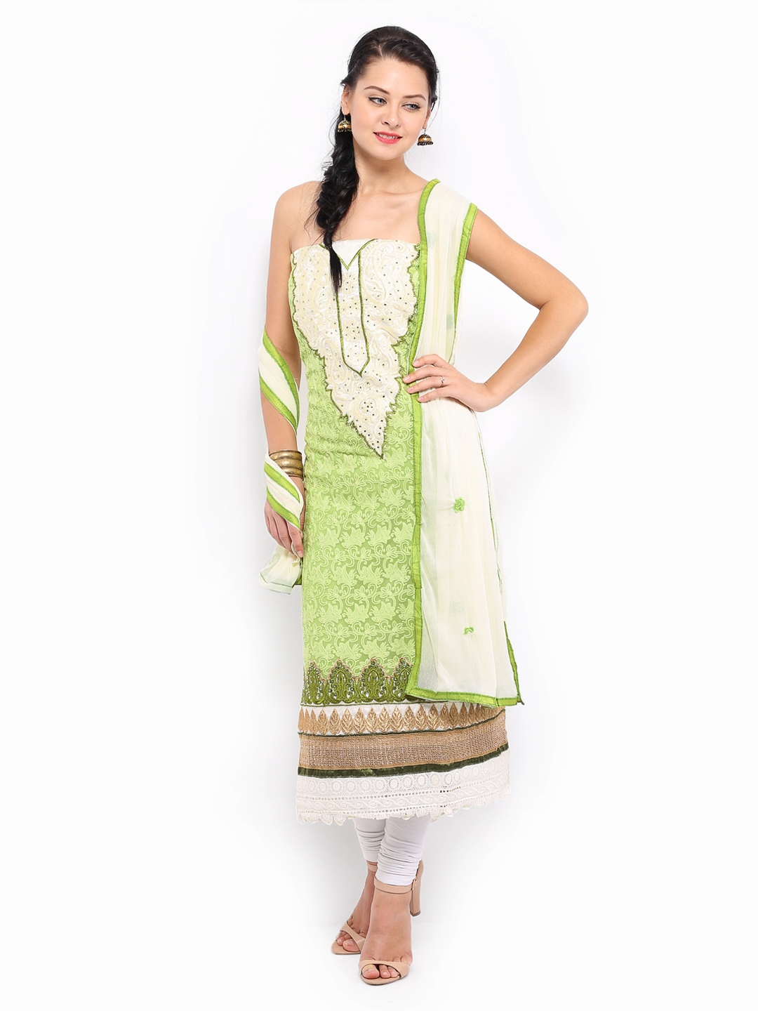 Myntra bridal green georgette unstitched dress material for Wedding dress material online