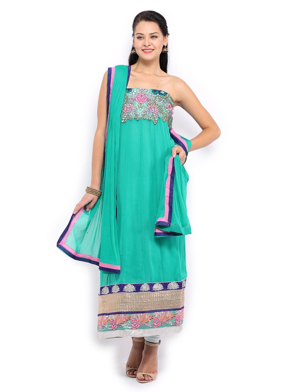 Myntra bridal green chiffon unstitched anarkali dress for Wedding dress material online